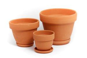 Глиняные горшочки для растений